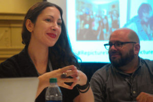 Pam Grossman, visual trends director for Getty Images, spoke Friday at the NLGJA convention about an initiative to improve the depiction of women in stock photos. (Photo by Andrew Holzman)