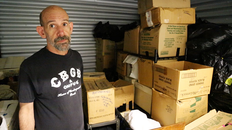 Dominik Molica, a 58-year-old gay hoarder, in the storage unit that costs him a third of his total income. (Photo by Spencer Macnaughton)